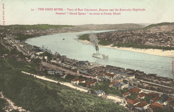 View of The Ohio River Postcard. Courtesy of Cincinnati Public Library (Postcard Collection).