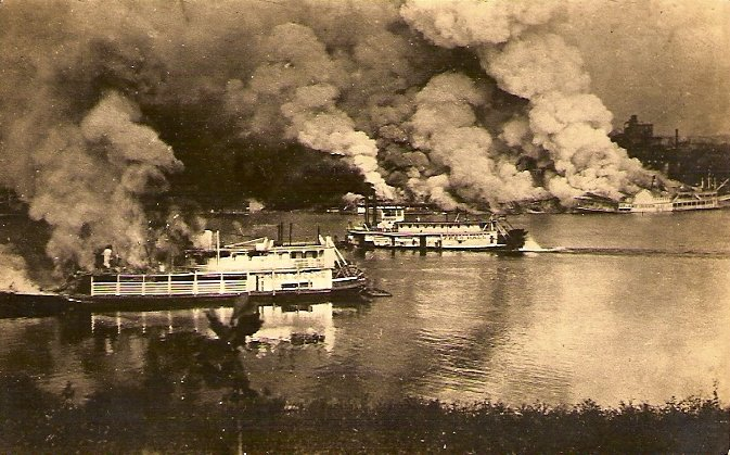 The Marine Railway- built Island Queen goes down in a 1922 blaze off the public landing of Cincinnati