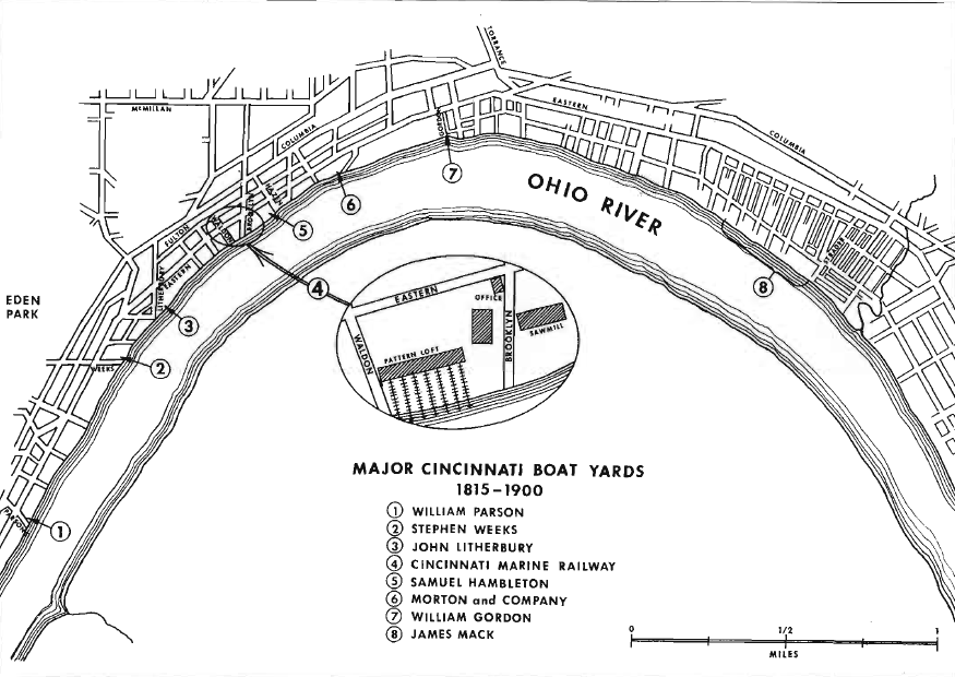 A closeup map of Fulton's Shipyards in the 1800's.