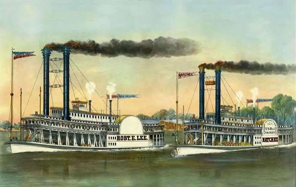 Currier and Ives rendition of the Great Race of 1870. Cincinnati's Natchez vs. The Robert E. Lee.
