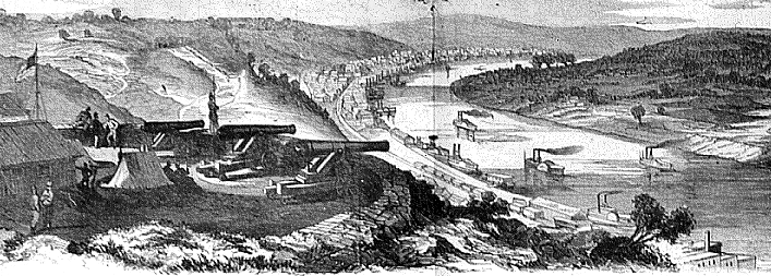 Sketch of 1861 Civil War Fortifications atop Mt. Adams. Courtesy of Cincinnati Public Library (Cincinnati Memory Collection). Note the guns arrayed to protect the shipyards as well as the downtown.