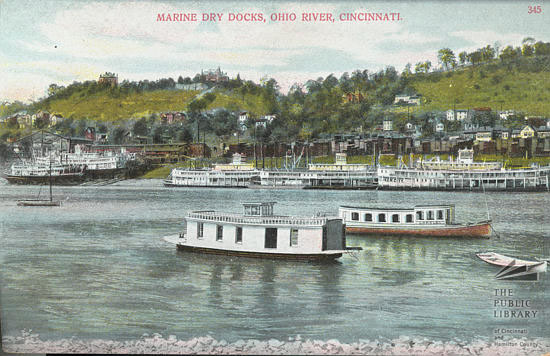 The busy Ohio River in front of Marine Railways circa 1890.