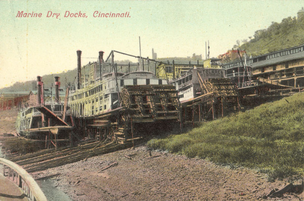 Marine Dry Docks Postcard. Courtesy of Cincinnati Public Library (Postcard Collection).